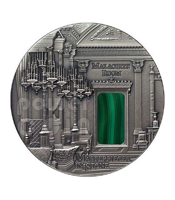 MALACHITE Room Masterpieces In Stone Hermitage 3 Oz Silver Coin 10$ Fiji 2013