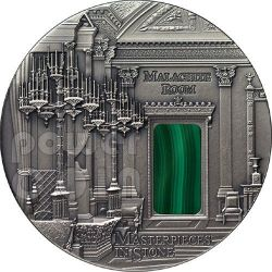 MALACHITE Room Masterpieces In Stone Hermitage Moneta Argento 3 Oz 10$ Fiji 2013