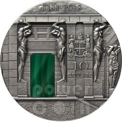 MALACHITE Room Masterpieces In Stone Hermitage 3 Oz Silver Coin 10$ Fiji 2013