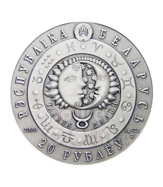 TAURUS Horoscope Zodiac Swarovski Silber Münze Belarus 2009