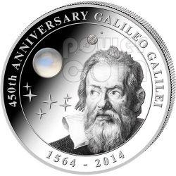 GALILEO GALILEI 450 Anniversario Pietra di Luna 2 Oz Moneta Argento 10$ Cook Islands 2014