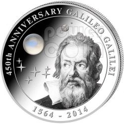 GALILEO GALILEI 450th Anniversary Moonstone 2 Oz Silver Coin 10$ Cook Islands 2014
