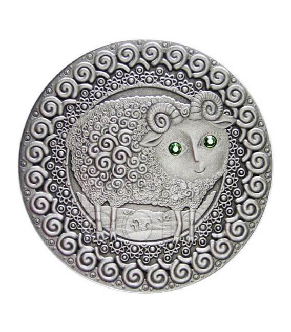 ARIES Horoscope Zodiac Swarovski Silber Münze Belarus 2009