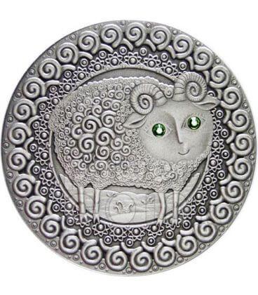 ARIETE Oroscopo Zodiaco Swarovski Moneta Argento Bielorussia 2009