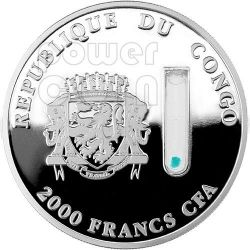 CHEETAH DNA Elements of Life 2 Oz Moneda Plata 2000 Francs Congo 2014