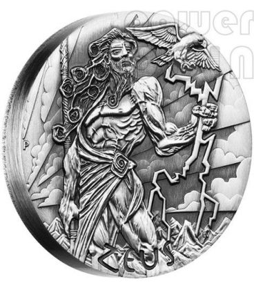 ZEUS Dei Olimpo Gods of Olympus Alti Rilievi Moneta Argento 2 Oz 2$ Tuvalu 2014