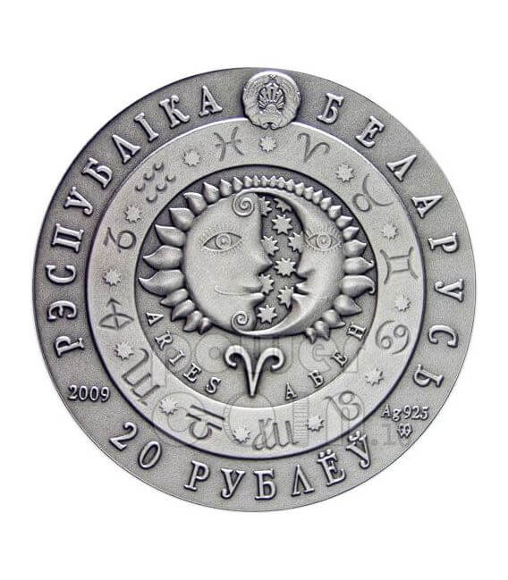 ARIES Horoscope Zodiac Swarovski Moneda Plata Belarus 2009