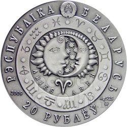 ARIES Horoscope Zodiac Swarovski Silver Coin Belarus 2009