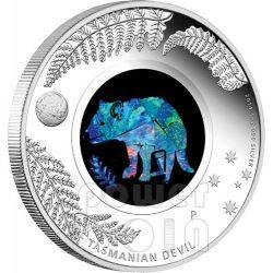 DIAVOLO TASMANIA Opal Serie Tasmanian Devil Opale Moneta Argento 1$ Australia 2014
