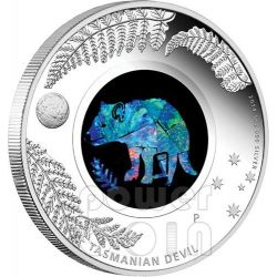 TASMANIAN DEVIL Opal Australian Opals Series Silver Coin 1$ Australia 2014