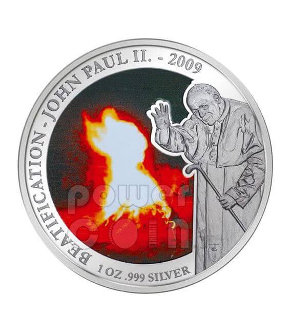 JOHN PAUL II BEATIFICATION Pope Miracle Silver Coin 5$ Samoa 2009