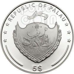 PEARL PINK Beauty Of The Sea Marine Life Серебро Монета 5$ Палау 2014