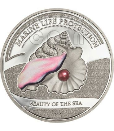 PEARL PINK Beauty Of The Sea Marine Life Silver Coin 5$ Palau 2014