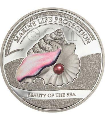 PERLA ROSA Beauty of The Sea Marine Life Moneta Argento 5$ Palau 2014