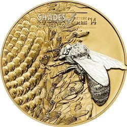 HONEY BEE Shades of Nature Silver Coin 5$ Cook Islands 2014