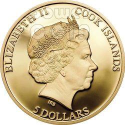 HONEY BEE Shades of Nature Moneda Plata 5$ Cook Islands 2014