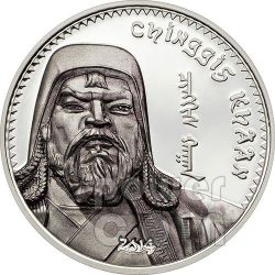 GENGHIS KHAN Chingis Chinghis Chinggis Khaan Silver Coin 1000 Togrog Mongolia 2014