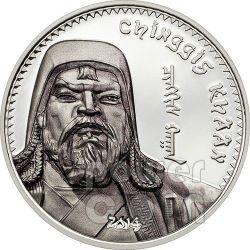 GENGIS KHAN Moneta Argento 1000 Togrog Mongolia 2014