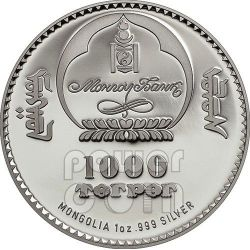 GENGHIS KHAN Chingis Chinghis Chinggis Khaan Moneda Plata 1000 Togrog Mongolia 2014