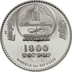 GENGHIS KHAN Chingis Chinghis Chinggis Khaan Silber Münze 1000 Togrog Mongolia 2014