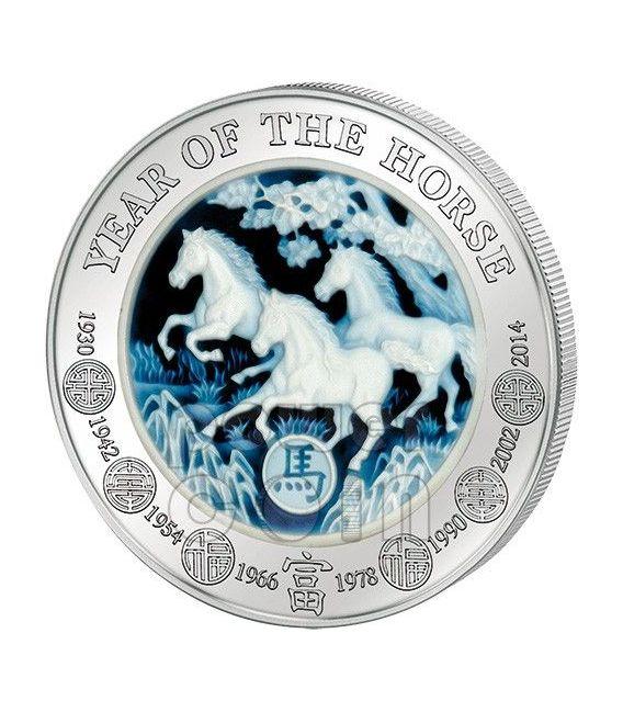 CAVALLO AGATA Horse Lunar Serie Moneta Argento 3 Oz 1000 Franchi Ruanda 2014