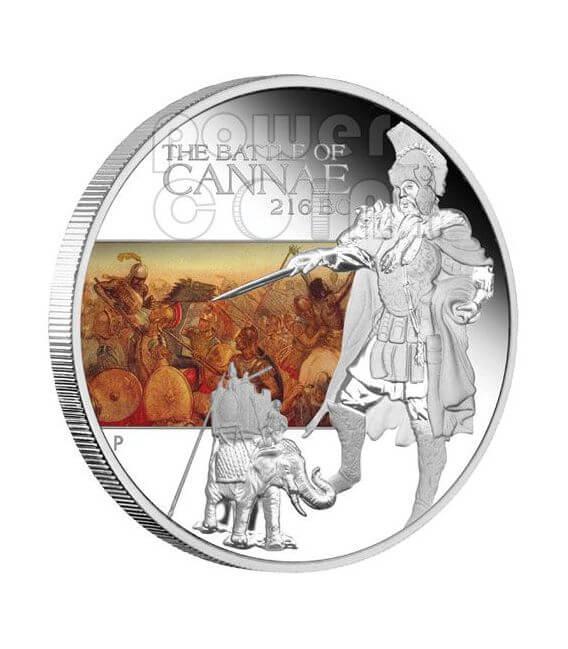 CANNAE Battle 216 BC Серебро Монета 1$ Тувалу 2009