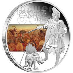 CANNAE Battaglia Canne 216 AC Moneta Argento 1$ Tuvalu 2009