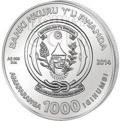 HORSE AGATE Two Layer Lunar Year Series 3 Oz Серебро Монета 1000 Франков Руанда 2014