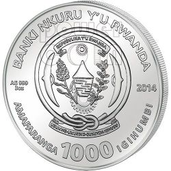 HORSE AGATE Two Layer Lunar Year Series 3 Oz Silber Münze 1000 Francs Rwanda 2014