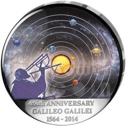 GALILEO GALILEI 450th Anniversary Curved Dome Moon Shape Moneda Plata 30 Francs Congo 2014