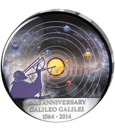 GALILEO GALILEI 450th Anniversary Curved Dome Moon Shape Silver Coin 30 Francs Congo 2014