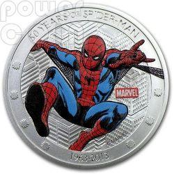 SPIDER MAN Uomo Ragno 50 Anniversario Moneta Argento 2$ Niue 2013