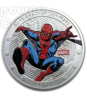 SPIDER MAN 50 Anniversary 1 Oz Silver Coin 2$ Niue 2013