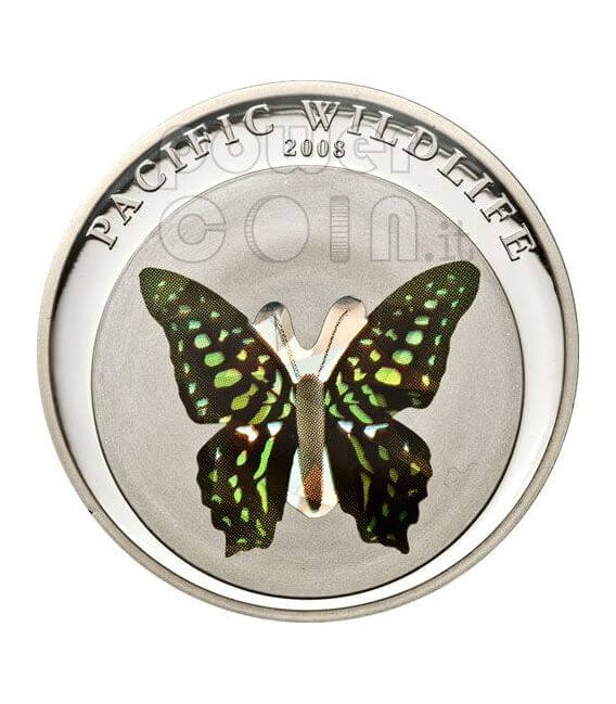BUTTERFLY BLACK GREEN Pacific Wildlife Silver Coin Prism 5$ Palau 2008