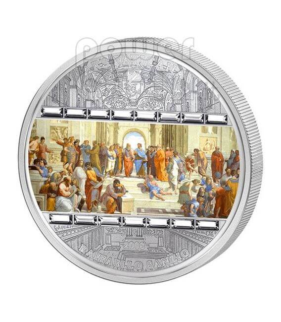 SCHOOL OF ATHENS Raphael 3 Oz Silver Coin 20$ Cook Islands 2009