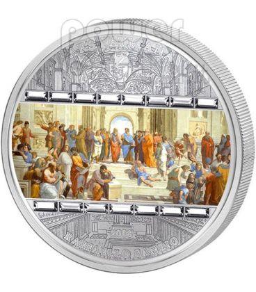 SCHOOL OF ATHENS Raphael 3 Oz Silver Coin 20$ Cook Islands 2009