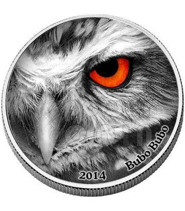 BUBO BUBO Natures Eyes 2 Oz Silver Coin 2000 Francs Congo 2014
