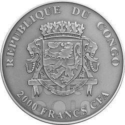 BUBO BUBO Natures Eyes 2 Oz Серебро Монета 2000 Франков Конго 2014
