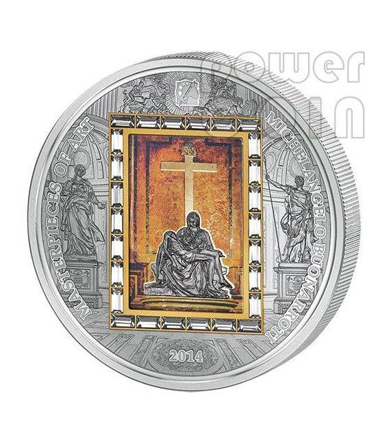 PIETA Michelangelo Buonarroti Masterpieces Of Art 3 Oz Silber Gold Münze 20$ Cook Islands 2014