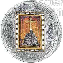 PIETA Michelangelo Buonarroti Masterpieces Of Art 3 Oz Moneta Argento Oro 20$ Cook Islands 2014