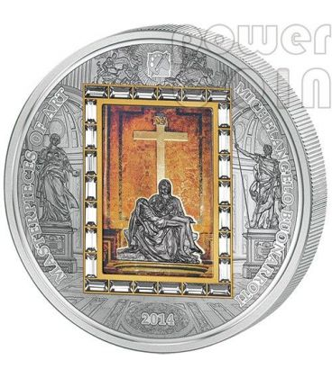 PIETA Michelangelo Buonarroti Masterpieces Of Art 3 Oz Silver Gold Coin 20$ Cook Islands 2014