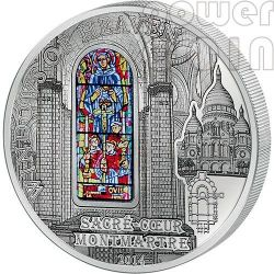 WINDOWS OF HEAVEN BASILICA SACRE COEUR Sacred Heart Montmartre Paris Silver Coin 10$ Cook Islands 2014