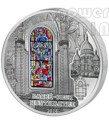 WINDOWS OF HEAVEN BASILICA SACRE COEUR Sacred Heart Montmartre Paris Silver Coin 10$ Cook Islands 2014