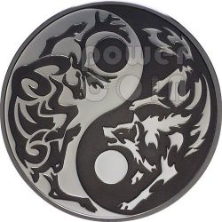 WOLF CARIBOU Predator Prey Yin Yang Palladium Silver Coin 5$ Cook Islands 2014