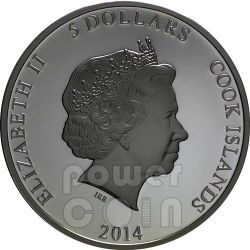 WOLF CARIBOU Predator Prey Yin Yang Palladium Moneda Plata 5$ Cook Islands 2014