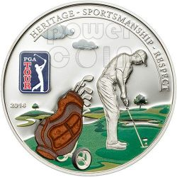 PGA TOUR GOLF BAG Official License Silver Coin 5$ Cook Islands 2014