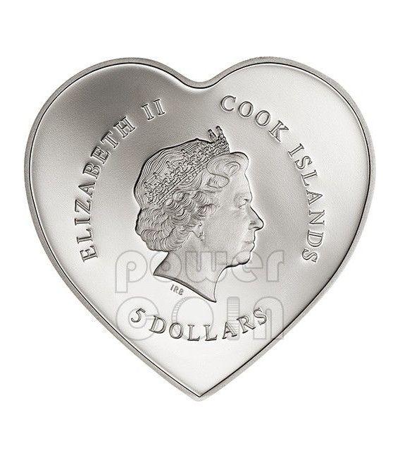 SAN VALENTINO Cuore 3D Moneta Argento 5$ Cook Islands 2014