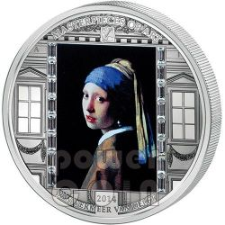 GIRL WITH PEARL EARRING Vermeer Van Delft Masterpieces of Art 3 Oz Silver Coin 20$ Cook Islands 2014