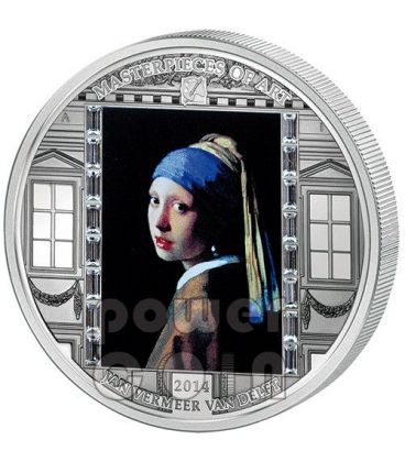 RAGAZZA ORECCHINO DI PERLA Vermeer Van Delft Masterpieces of Art 3 Oz Moneta Argento 20$ Cook Islands 2014