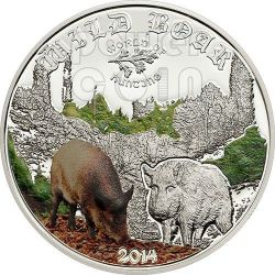 WILD BOAR World of Hunting Silver Coin 2$ Cook Islands 2014